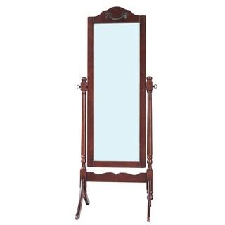 Solid Wood Standing Floor Mirror, Dark Brown