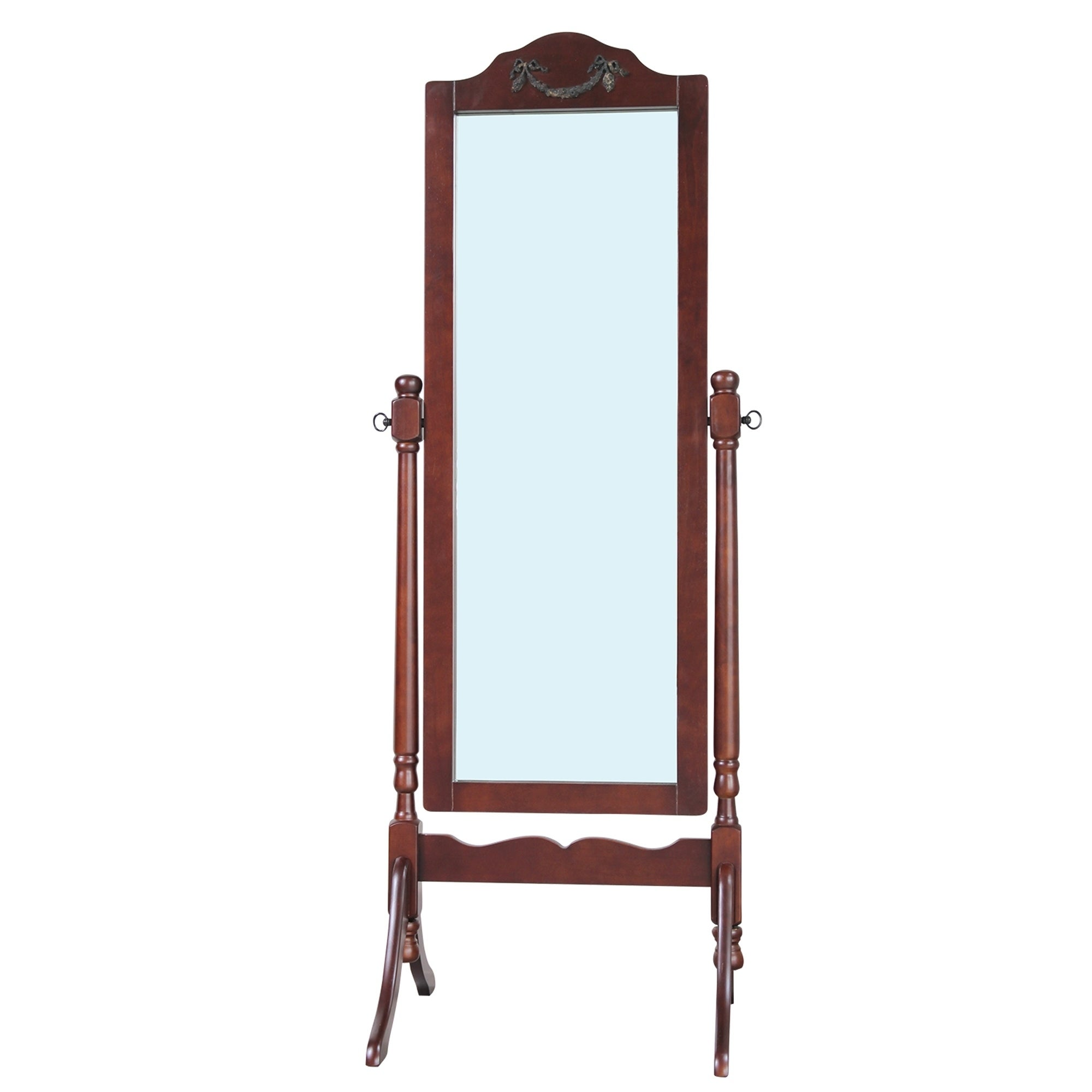 Solid Wood Standing Floor Mirror Dark Brown Blue Antique A N Overstock 17819005