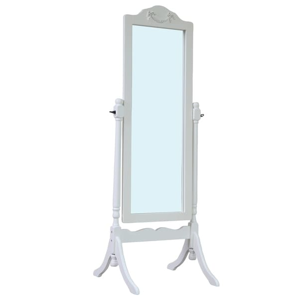 Solid Wood Standing Floor Mirror, White