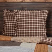 Brown Rustic Bedding VHC Rory Euro Sham Cotton Plaid