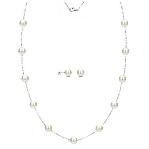 DaVonna Sterling Silver White Freshwater Pearl Tin-cup Station Necklace and Stud Earrings Set (6-9 mm)
