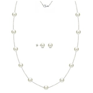 DaVonna Sterling Silver White Freshwater Pearl Tin Cup Station Necklace And Stud Earrings Set 6 9 Mm
