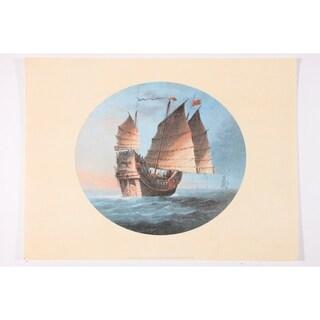 Chinese Trade Ship premium Art Print of Sailboat Art