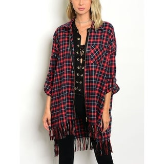 JED Women's Cotton Plaid Zip Up Oversized Cardigan Overshirt