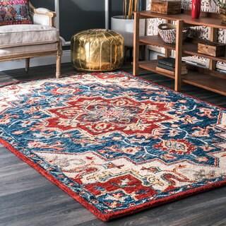 nuLOOM Handmade Vibrant Southwestern Floral Medallion Wool Multi Rug (5' x 8')