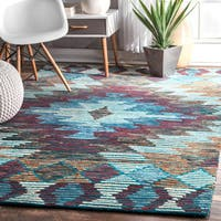 nuLOOM Handmade Geometric Abstract Diamonds Wool Multi Rug - 5' x 8'