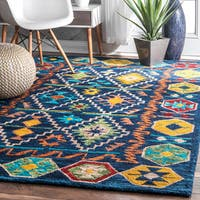 nuLOOM Handmade Contemporary Tribal Badges Wool Multi Rug - 5' x 8'
