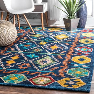 nuLOOM Multi Handmade Contemporary Tribal Badges Wool Area Rug