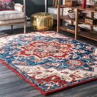 nuLOOM Handmade Vibrant Southwestern Floral Medallion Wool Multi Rug (7'6 x 9'6)