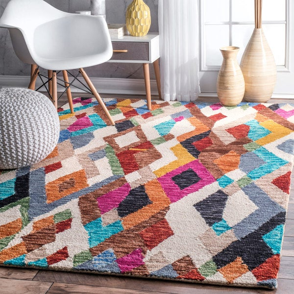 nuLOOM Multi Contemporary Handmade Vibrant Abstract Stripes Wool Area Rug