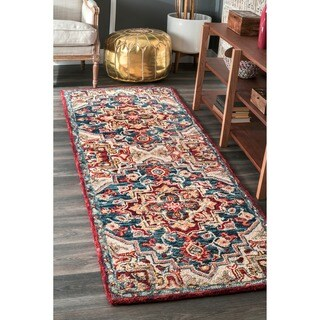 nuLOOM Handmade Vibrant Southwestern Floral Medallion Wool Multi Runner Rug (2'6 x 8')