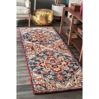 nuLOOM Handmade Vibrant Southwestern Floral Medallion Wool Multi Runner Rug - 2'6 x 8'