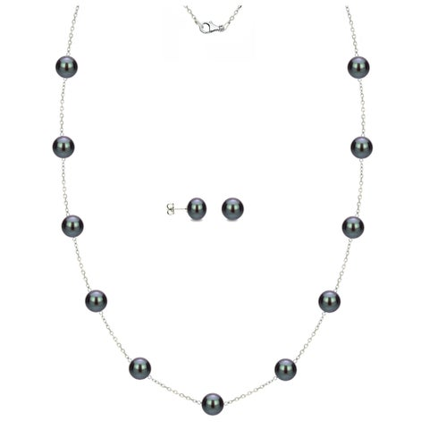 DaVonna Sterling Silver Black Freshwater Pearl Tin-cup Station Necklace and Stud Earrings Set