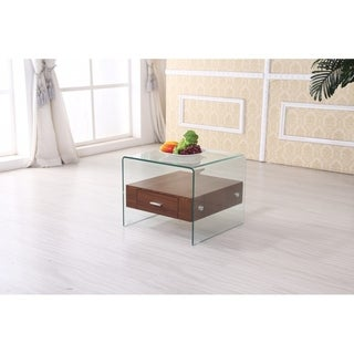 Best Quality Furniture Modern Glass-top End Table with Drawer