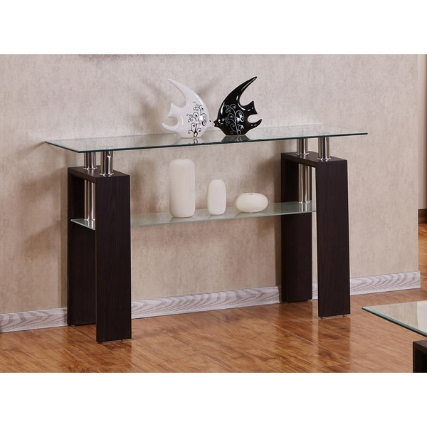 Shop Best Quality Furniture Rectangular Glass Top Espresso Console