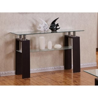 Best Quality Furniture Rectangular Glass-top Espresso Console Table with Glass Shelf