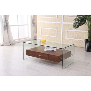 Best Quality Furniture Modern Glass-top Coffee Table with Drawer
