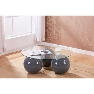 Best Quality Furniture Glass-top Coffee Table with 3-Sphere Base