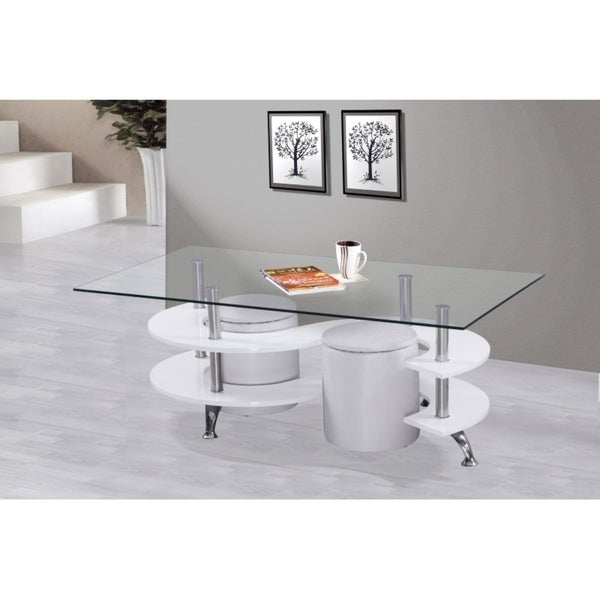 Best Quality Furniture Glass-top Coffee Table with 2 Nesting Stools