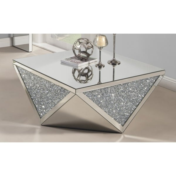 Best Quality Furniture Mirrored Coffee Table With Crystal Accent