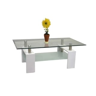 Best Quality Furniture Rectangular Glass-top Coffee Table with Glass Shelf