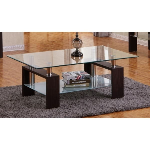 Best Quality Furniture Rectangular Glass Top Coffee Table With Glass Shelf On Sale Overstock 17823881 Espresso