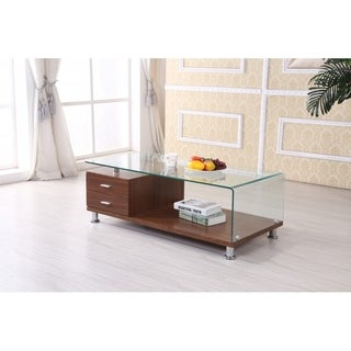 Best Quality Furniture Rectangular Glass-top Coffee Table with Drawers