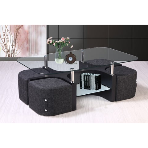 Best Quality Furniture Glass-top Coffee Table with 4 Nesting Stools