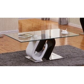 Best Quality Furniture Modern White and Cappuccino Glass-top Table