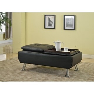 Best Quality Furniture Black Faux Leather Coffee Table with Hidden Top Tray