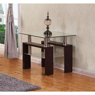 Best Quality Furniture Square Glass Top Espresso End Table With Glass Shelf