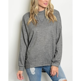JED Women's Mock Neck Relax Fit Grey Knit Sweater Top