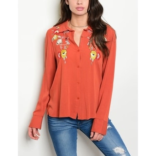JED Women's Floral Patch Rust Long Sleeve Button Down Shirt