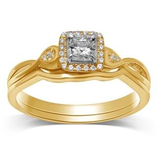 Unending Love 14k Gold 1/6ct TDW Princess-cut Halo Ring Set (IJ I2-I3)