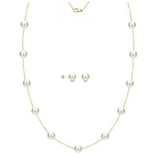 DaVonna 18k Yellow Gold over Silver White Freshwater Pearl Tin-cup Station Necklace and Stud Earrings Set (6-9 mm)