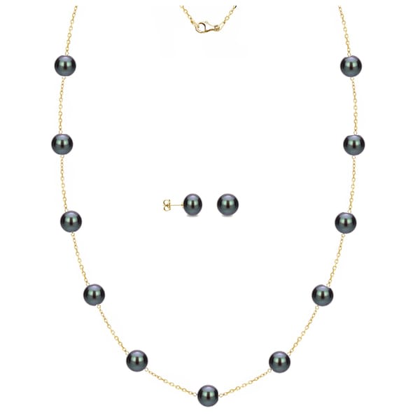 DaVonna 18k Yellow Gold over Silver Black Freshwater Pearl Tin-cup Station Necklace and Stud Earrings Set