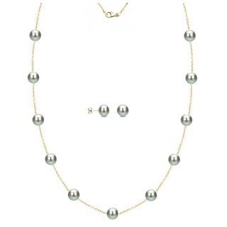 DaVonna 18k Yellow Gold Over Silver Grey Freshwater Pearl Tin Cup Station Necklace And Stud Earrings Set 6 9 Mm