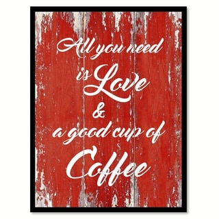 All You Need Is Love & A Good Cup of Coffee Saying Canvas Print Picture Frame Home Decor Wall Art