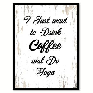 I Just Want To Drink Coffee & Do Yoga Saying Canvas Print Picture Frame Home Decor Wall Art