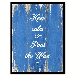 Keep Calm & Pour The Wine Saying Canvas Print Picture Frame Home Decor Wall Art
