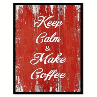 Keep Calm & Make Coffee Saying Canvas Print Picture Frame Home Decor Wall Art