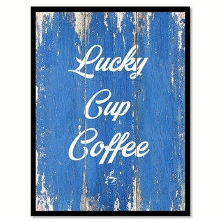 Lucky Cup Coffee Saying Canvas Print Picture Frame Home Decor Wall Art