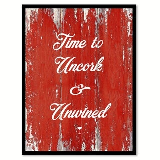 Time To Uncork & Unwinded Saying Canvas Print Picture Frame Home Decor Wall Art