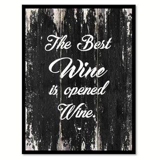 The Best Wine Is Opened Wine Saying Canvas Print Picture Frame Home Decor Wall Art