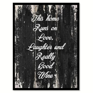 This Home Runs On Love Laughter & Really Good Wine Saying Canvas Print Picture Frame Home Decor Wall Art