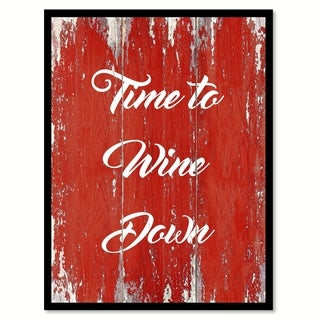 Time To Wine Down Saying Canvas Print Picture Frame Home Decor Wall Art