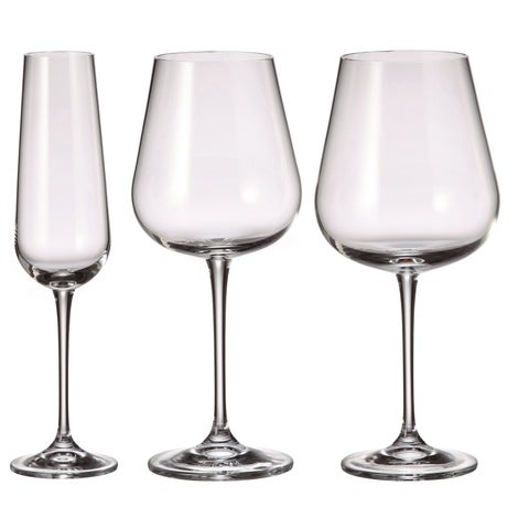 Red Vanilla Amundsen Crystal Wine and Champagne Glass 18 Piece Set