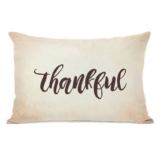 Thankful - Tan Throw Pillow by OBC