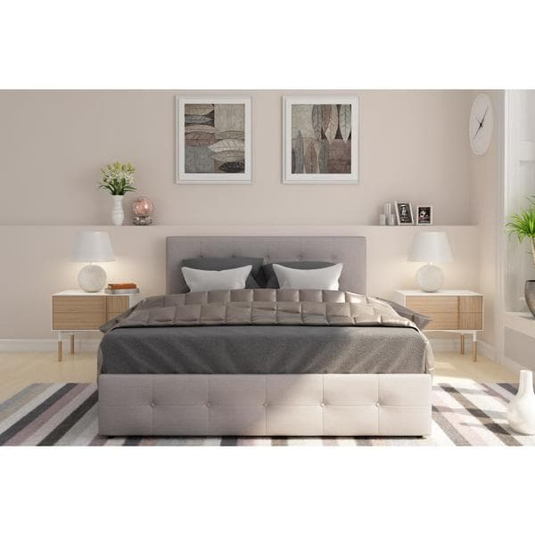 DHP Rose Grey Linen Upholstered Queen Bed with Storage. DHP Rose Grey Linen Upholstered Queen Bed with Storage   Free