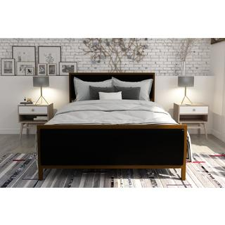 DHP Lennox Gold Steel and Black Faux Leather Upholstered Queen Bed
